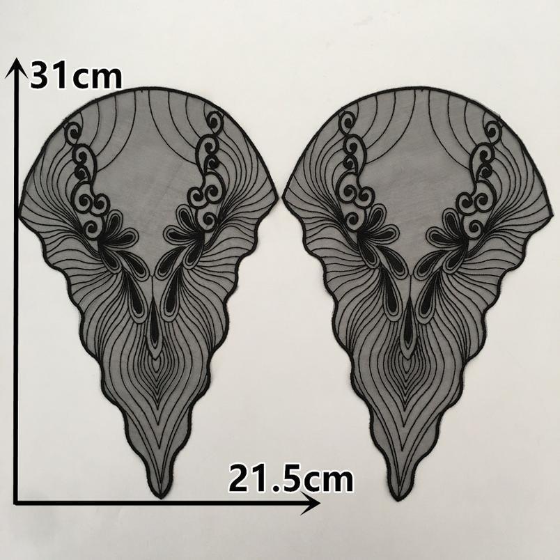 Новая прибытия органзы кружевной воротник вышивка аппликация кружева обрезка для шитья DIY кружевная ткань платья аксессуары пара Qyldje