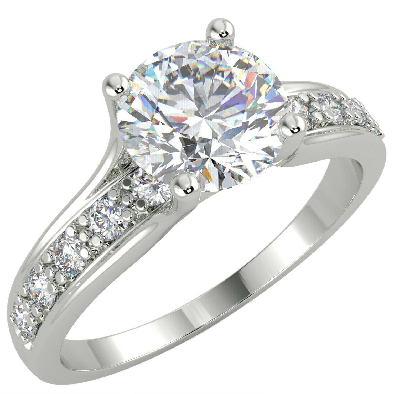 1 CT Corte redondo Si1 / D Solitaire Pave Lad Anillo de compromiso de diamante 14k chapado en oro blanco