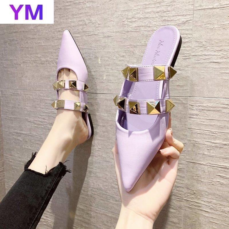 Mulheres Chinelos 2021 Sexy Elegante Fora Sapatos Coreano Moda Casuais Rebites Mulheres Sandálias Verão Salto Alto Zapatos de Muje