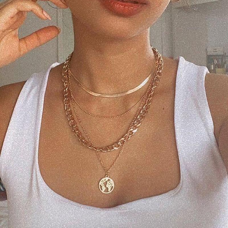 Chains Bohemia Multilayer Snake Chain Thick Choker Necklace For Women Creative Personality Hollow Map Pendant Alloy