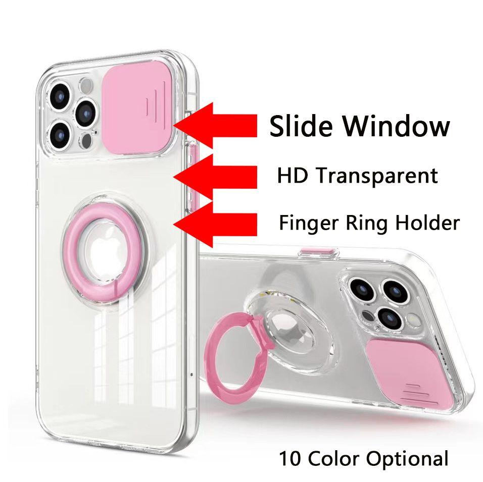 انزلاق نافذة عدسة حماية البنصر حامل الحالات الهاتف لفون 12 ميني 11 برو ماكس XR XS 6 7 8 زائد بسيط الأزياء HD واضح شفافة حالة الهاتف المحمول