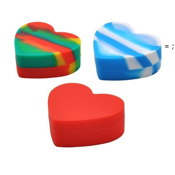 Contenants en silicone non escamotant Sac en forme de cœur Sac à herbes sèche Vaporisateur FDA Box 18ml Pors Silicon DABS Cire HHD7560