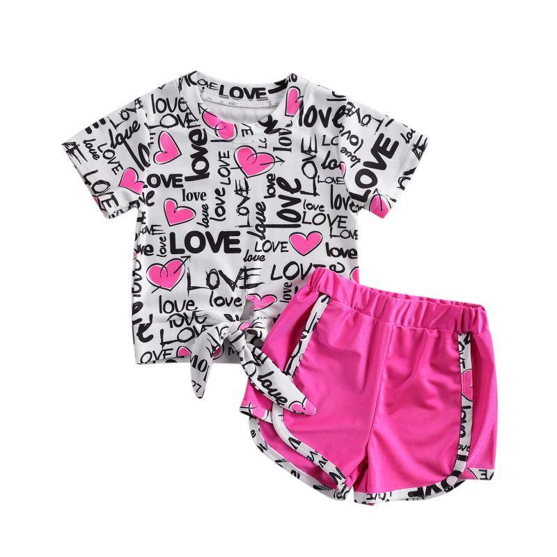 مجموعات الملابس citgeesummer عيد الحب أيام جميلة الرضع أطفال الفتيات الملابس إلكتروني طباعة قصيرة الأكمام تي شيرت قمم السراويل لطيف 1-6y