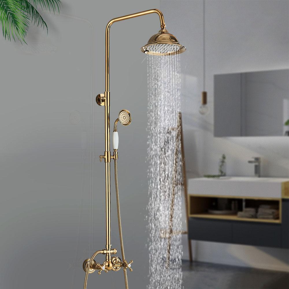 Золотые смесители для душа набор ванной Roinfast Wall Mount System Swivel ванна носик для носики ванна комплект 2/3 Way Tap