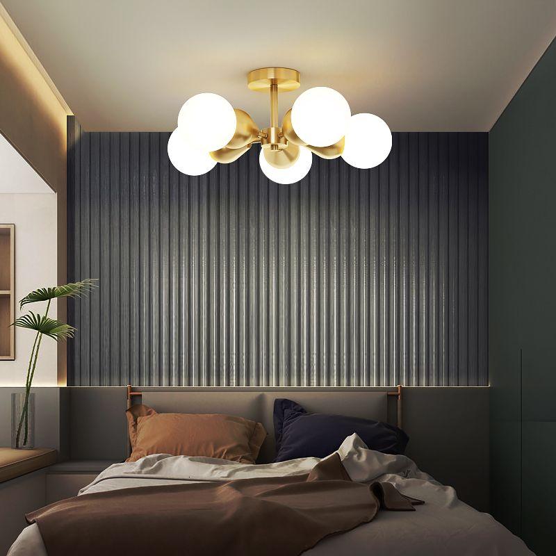 Moderno LED Glanz von Gold Kupfer Nordic Luxus Ball Glaslampe Deckendekoration Raum Essinging Interior Lampen HC55
