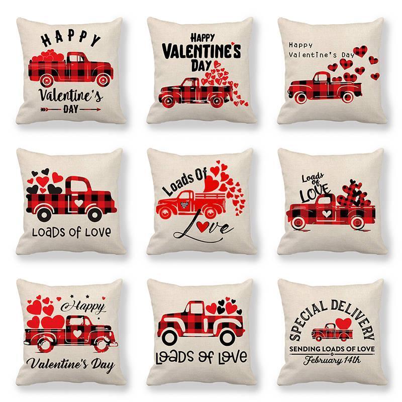 Cuscino / cuscino decorativo 45 cm * Camion di 45 cm con felice giorno di San Valentino Lenzuola / Cotton Throw Covers Cover Cuscino Coperchio Home Decor