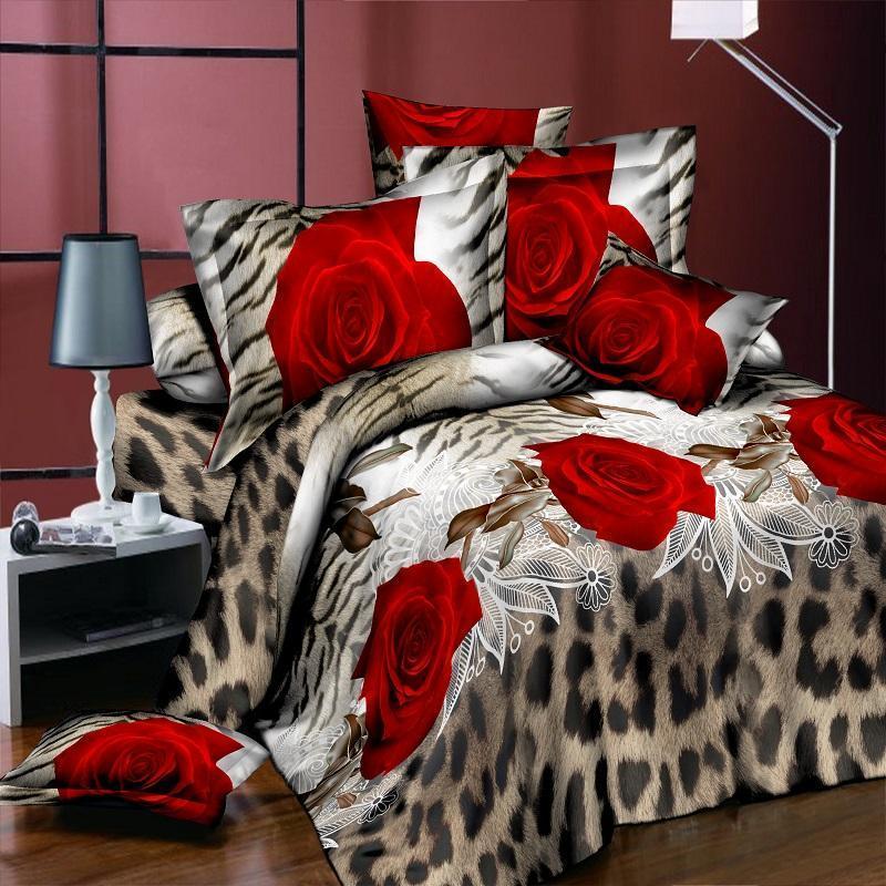 4 Pieces 3D Floral Duvet Cover Bedding Set Flower Bed Linens Double Bed Sheet Comforter Summer Quilt King Size Home Bedspread F