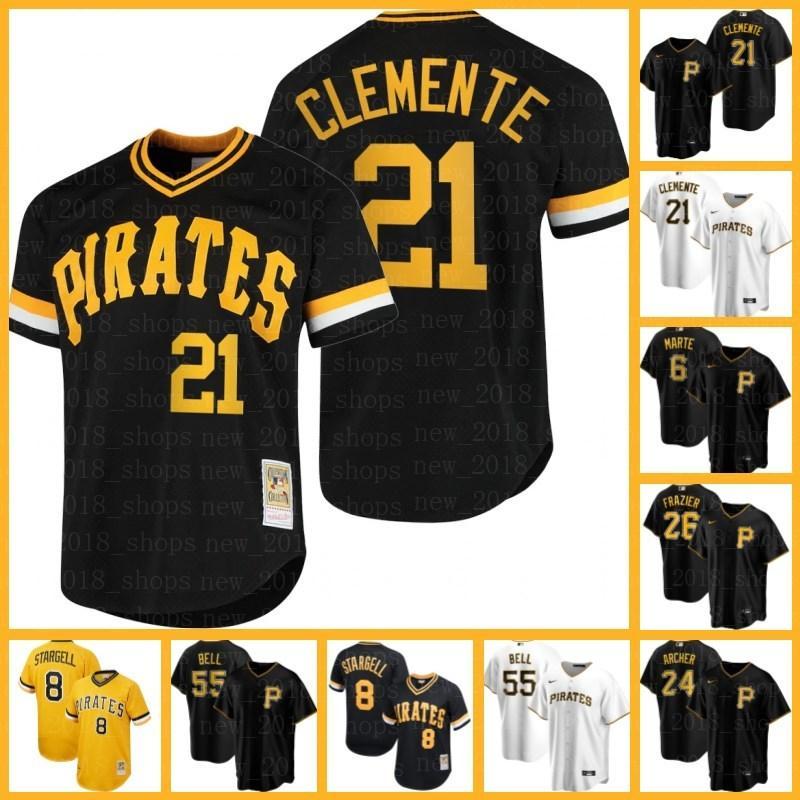 "Pittsburgh ""Piratas Jerseys 21 Roberto Clemente 26 Adam Frazier 19 Colin Moran 10 Bryan Reynolds Mitch Keller 13 Ke'bryan Hayes Base Starling Marte David Bednar"