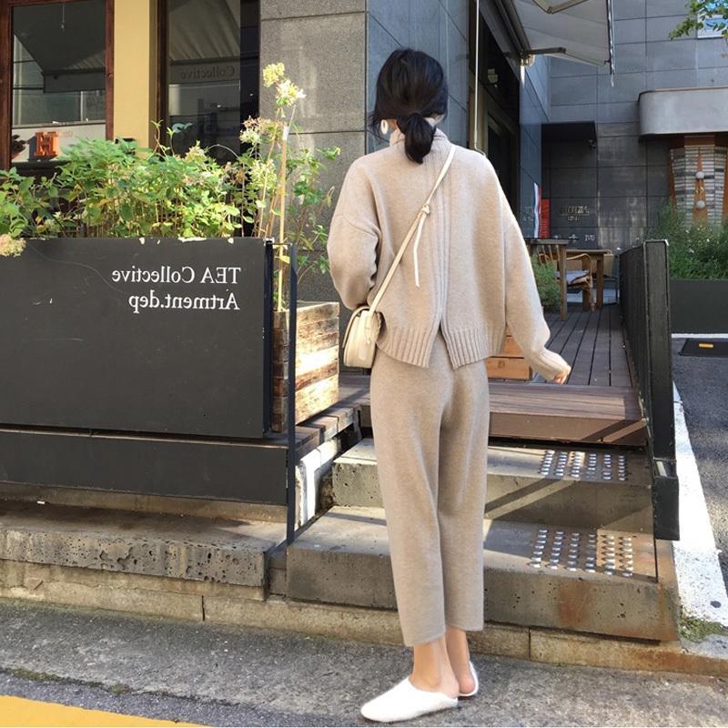 Sonbahar Bahar Cbafu Örme Eşofman Balıkçı Yaka Tişörtü Kadın Giyim 2 Parça Set Örgü Pantolon Kadın Pantolon Suit 95wt