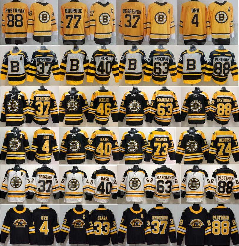 Boston Bruins Reverse Retro Jersey Hóquei Zdero Chara Patrice Bergeron Brad Marchand David Pastrnak Charlie McAVoy Tuukka Rask David Krejci