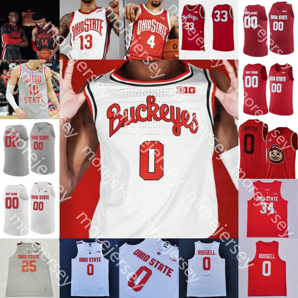 Ohio State Buckeyes personnalisé Basketball Jersey NCAA College Kyle Young D.J. Carton CJ Walker Andre Wesson Wesson Kaleb Muhammad Alonzo Gaffney