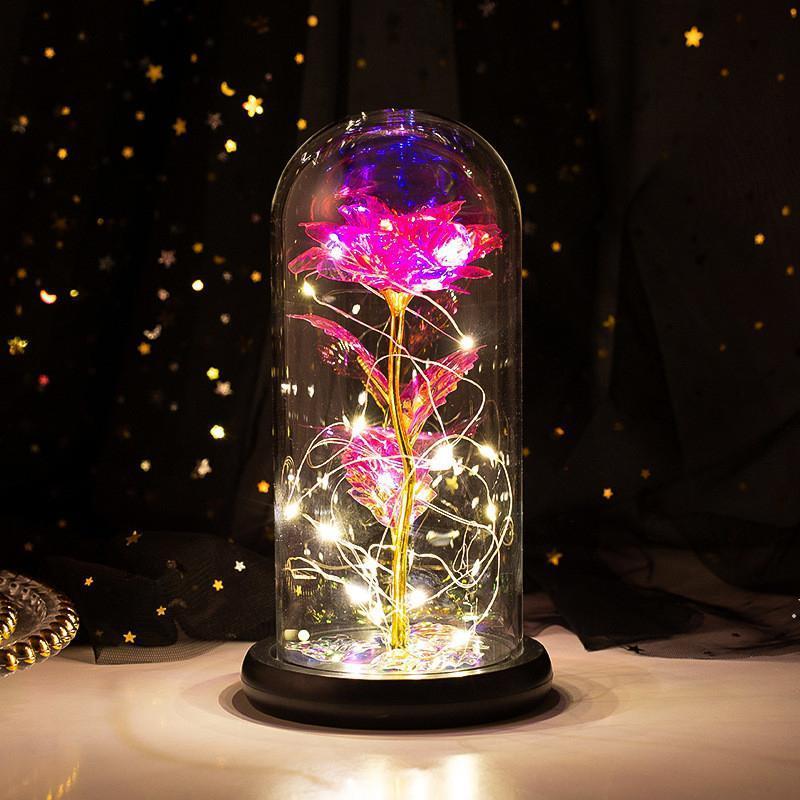 ارتفع الأبدية مع أضواء فلاش LED الخفيفة مع احباط luminum روز عيد الحب هدية عيد ميلاد عيد ميلاد سعيد يوم DWA4094