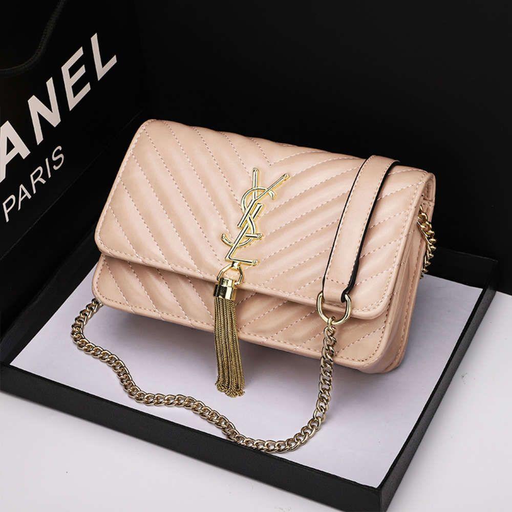 Coreano 2021 Verano Nuevo Estilo Pequeña Cadena de Fragancia V Bordado Tassel L Single Hombro Subger Span Bag