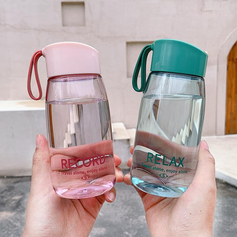 Portable Simple Handy Personalized Plastic Drop Resistant Space Cup Transparent English Printed Sports Water
