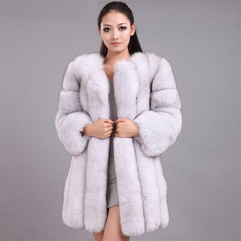 Femme Warm Outwear femme manteau de fourrure de fausse fourrure qualifiée épaisse imitation de fourrure de renard imitaté 210222