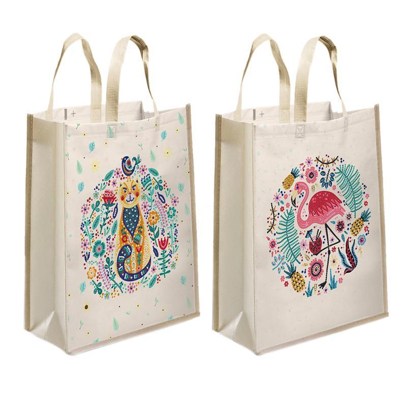 Sacs de rangement Diy Cartoon Animal Animal Diamond Peinture Shopping Mosaïque Kit Kit strass Dessin Image Set Art Artisanat Sac à main