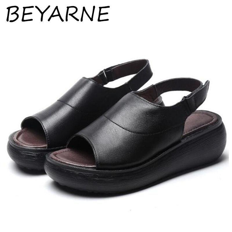 Сандалии Beyarne 100% натуральный полный натуральный кожа лето открытая обувь толщиной нижний клин женские мода пострадавшие