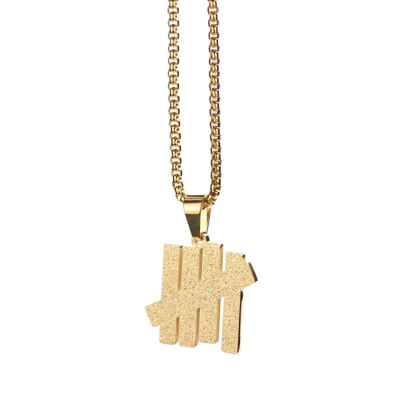 Kolye kolye altın ABD yenilmez beş bar kolye minimalizm paslanmaz çelik çubuklar zincir hiphop takı amerikan