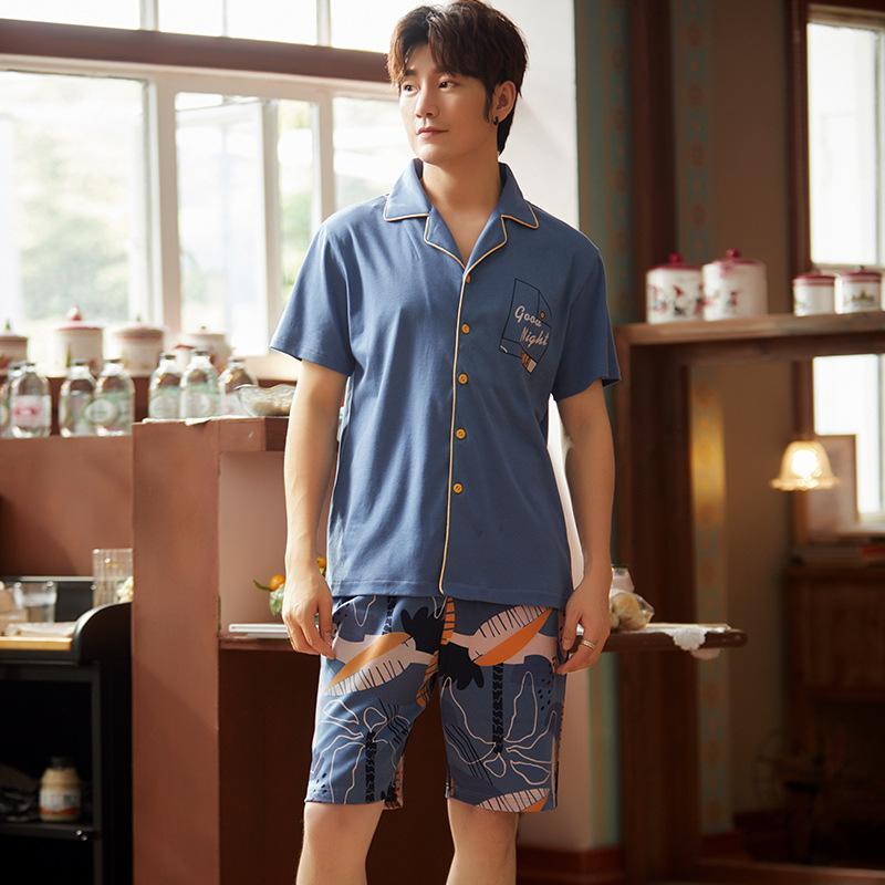 Summer Hommes Pajama Ensemble Coton Hommes Pajama Costume Courte Sleeve Pajama Homme Sortwear Spring Spring Homme Nightpown XXXL Vêtements de nuit