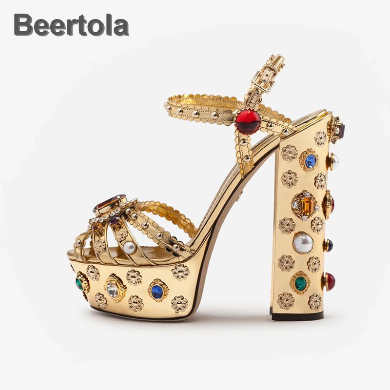 Золотые летние женские туфли сандалии красочные кристалл цветочные сандалии платформы сладкие пряжки ремешка для женщин Zapatos Mujer 210301