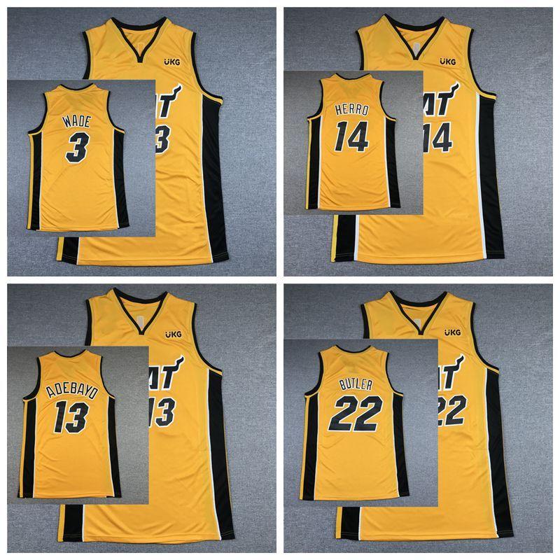 МайамиВысокая температураNCAA Men Jimmy 22 Баскетбол Дутлер Дуэйн 3 Уэйд Тайлер 14 Herro 13 Adebayo City 2021 Edition Джерси Желтые продажи Высокое Качество Размер S-XXL