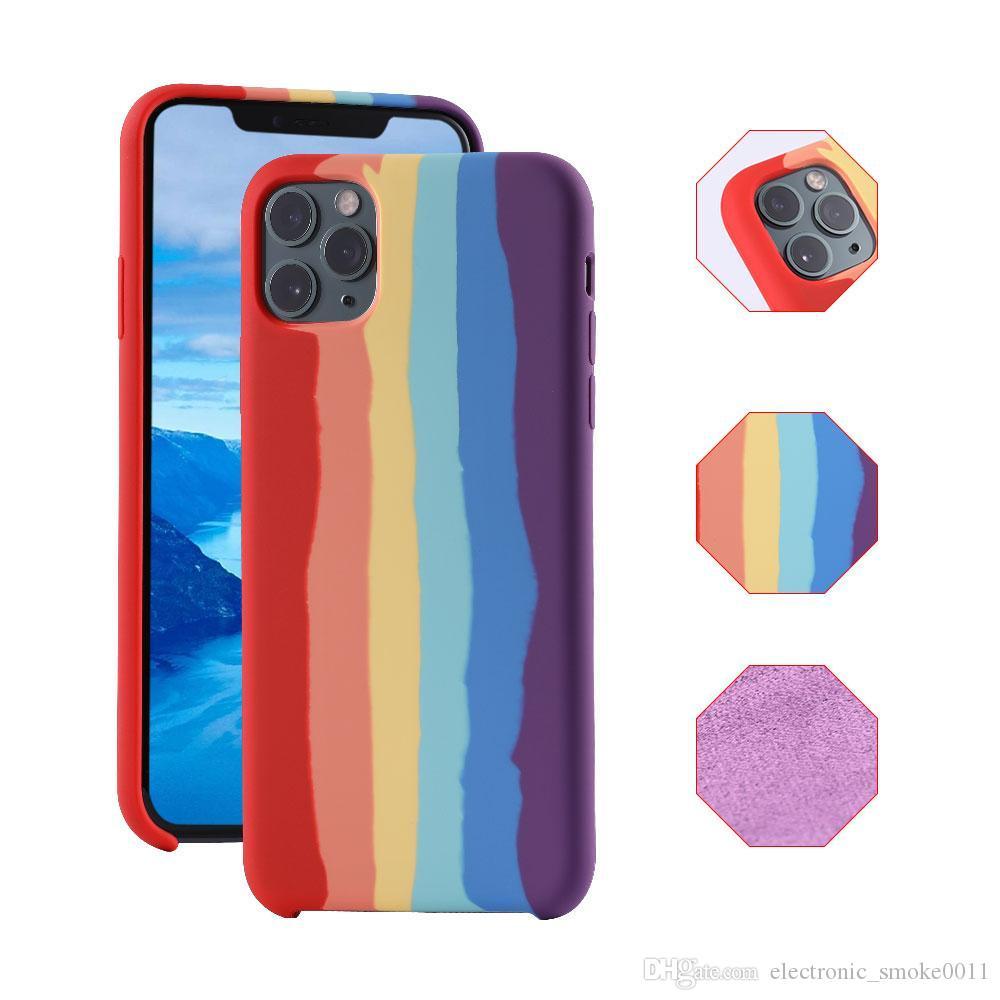 Nova Chegada Arco-íris Color Silicone Capa de Telefone Líquido para iPhone 12 11 Pro Max x XS XR 6 6 Plus 6S 7 8 Celular Proteger caso