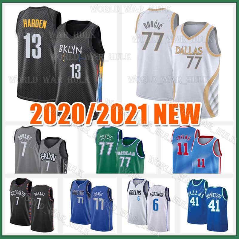 11 Irving Basketball Jerseys Kevin 7 Durant 13 Harden Kyrie 77 Doncic Dirk 41 Nowitzki Luka Kristaps 6 Porzingis 72 Biggie 2021 Nuovo