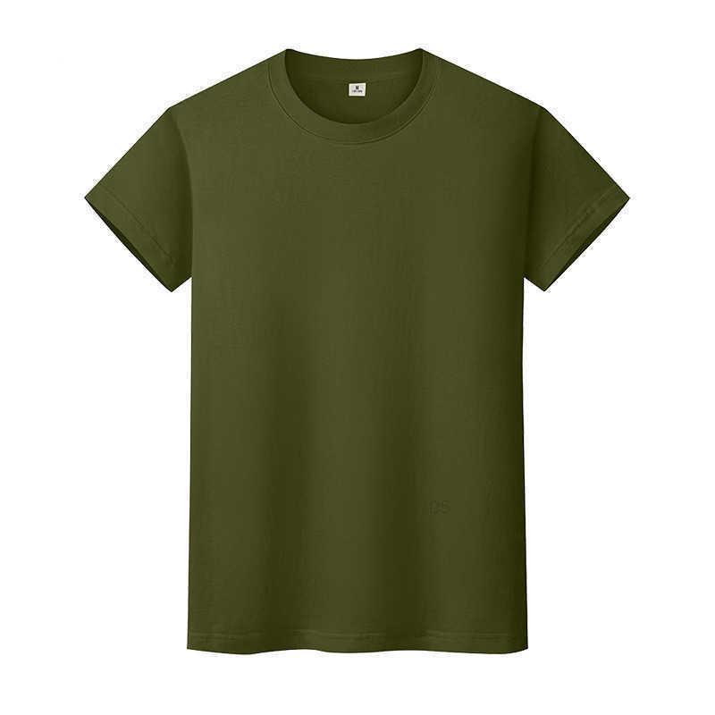 새로운 둥근 목 솔리드 컬러 티셔츠 여름 코튼 바닥 셔츠 반팔 망 및 여성 반 슬리브 SSO7IQ