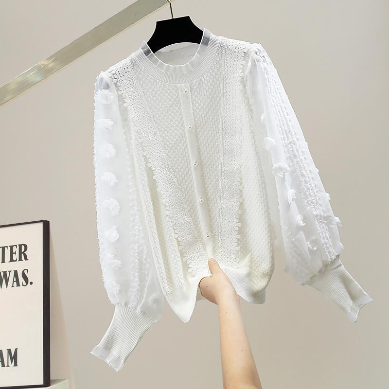 Women's Blouses & Shirts SuperAen Fashion Pasted Cloth Design Cotton Puff Sleeve Splicing Solid Full Wool Sweater Casual Top Blouse Wom