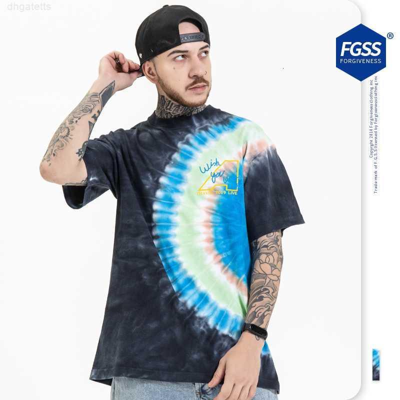 Desgaste dos homens 21 verão planta solta impressão na moda quadril fgss hop rodada pescoço de manga curta tie t-shirt para homens