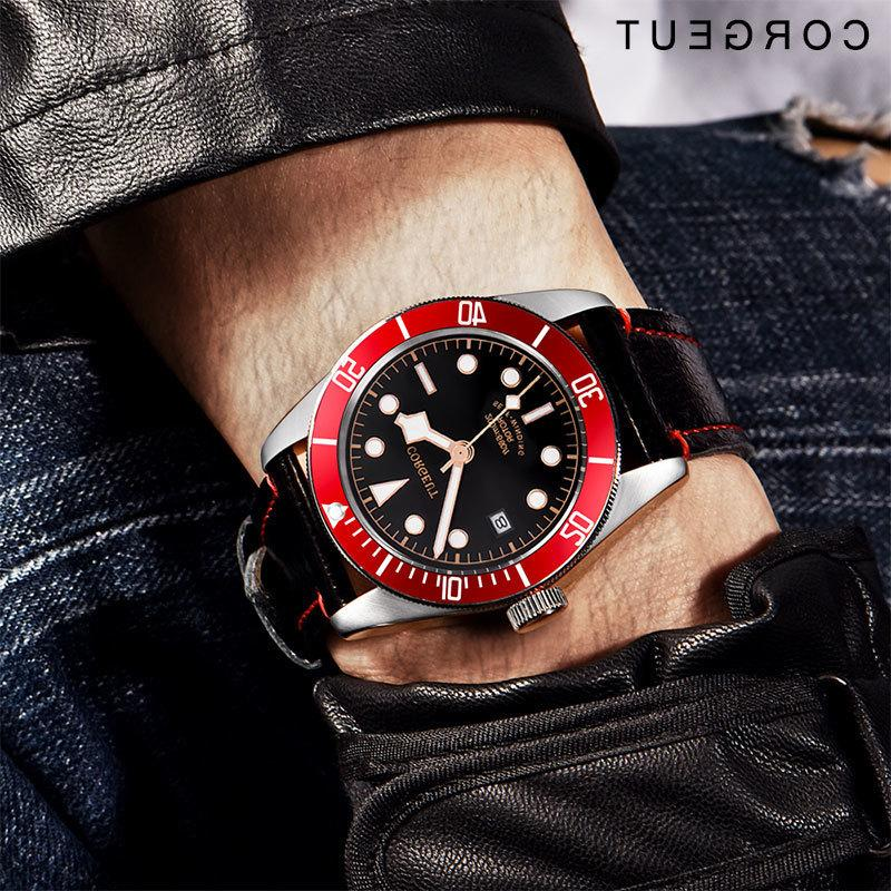 41mm Corgeut Military Black Bay Männer Automatische Luxus Marke Sport Swim Clock Leder Mechanische Uhren