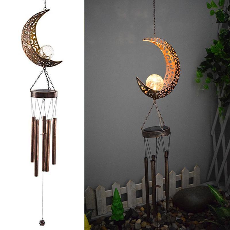 Oggetti decorativi Figurine Econo Moon / Sun Crackle Glass Ball Chimes Vento Led Led Solar Light Decor per esterni Giarding Gardening Regali