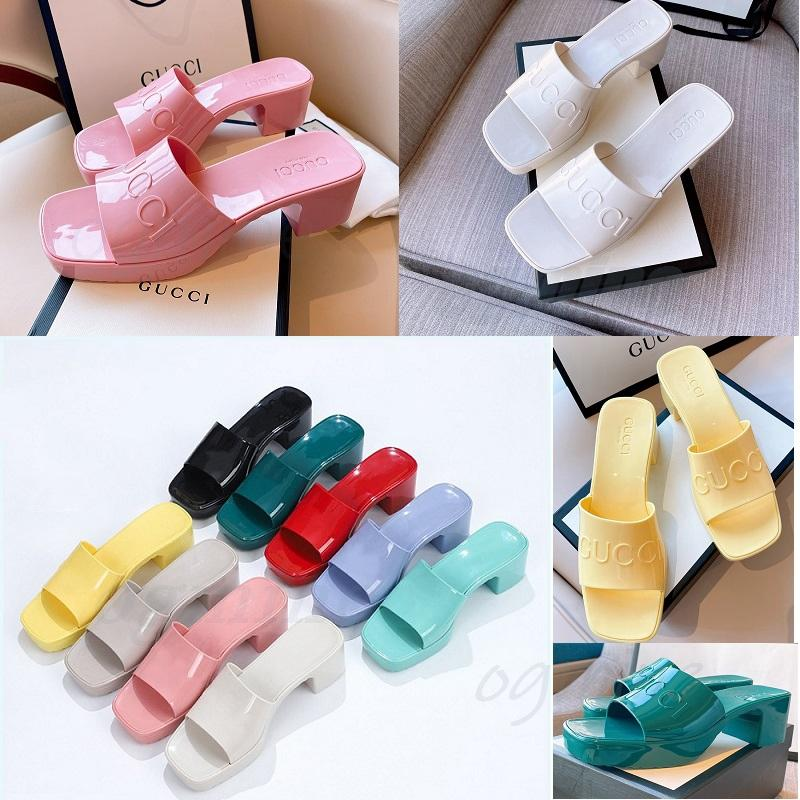 С коробкой женщин резиновые каблуки слайд каблуки сандалии 5,5 см платформы тапочки розовые зеленые конфеты цвета открытый пляж слайды тапочки флип
