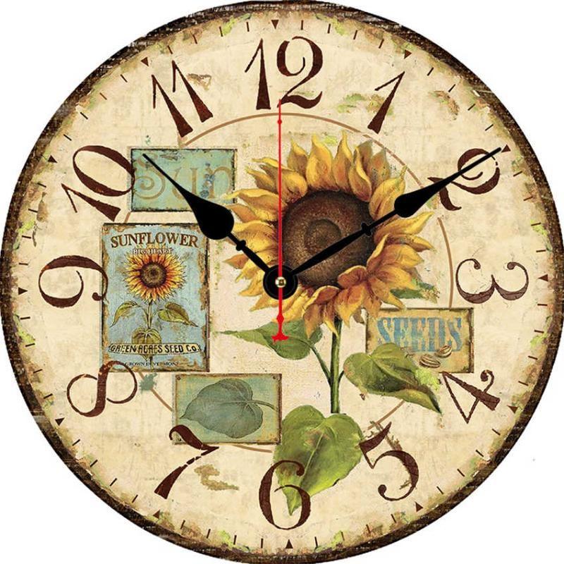 Batería Operada Sin Ticking Muro de girasol Amarillo Reloj de pared Reloj de margarita tropical Cuarzo Cuarzo Reloj decorativo para cocina