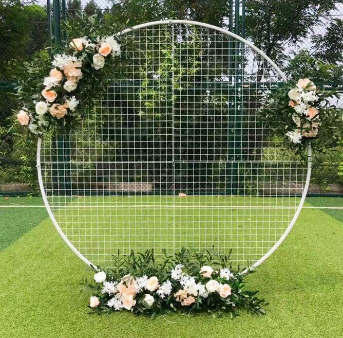 Grille métallique cercle rond ballon ballon fleur fer de fer fond arc cadre stand wedding mariage mariage fête décoration