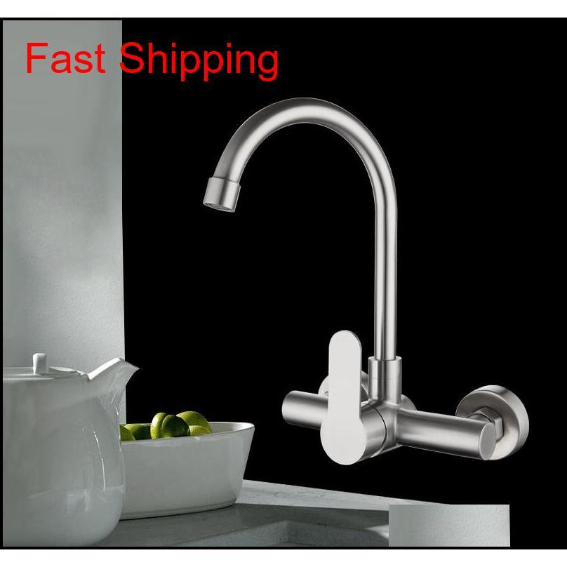 Kitchen Faucet Stainless Steel Bathroom Basin Sink Tap Wall Mounted 360 Degree Swivel Double Hole Hot Cold Water qylGat bdenet