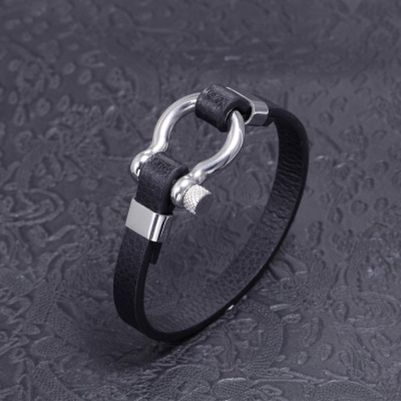 Brazalete de pulsera de cuero real negro para hombres de acero inoxidable Vachette Botón de tornillo diseño joyería única 21 cm