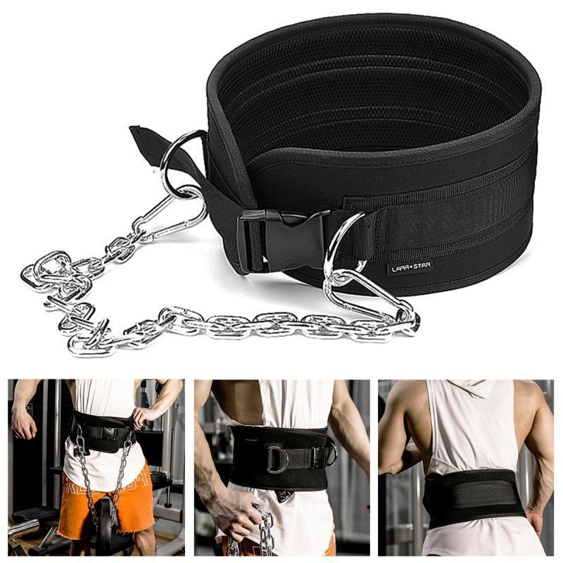 Acessórios Cinto de levantamento de peso com imersão de corrente para puxar o queixo Kettlebell Barbell Fitness Bodybuilding Gym Cintos 2021