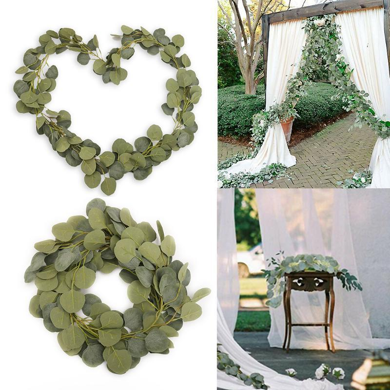 2m Greenery Eucalyptus lascia la seta artificiale della vite della ghirlanda della ghirlanda del festival della porta della porta della porta della porta della casa 2