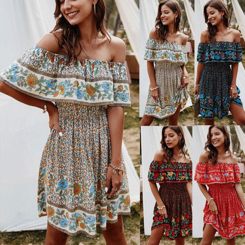 Женщины Floral Print Bohemian Beach Dress 2021 Новый Весна Летний Праздник Стиль Приморский Сексуальный V-образным вырезом Шире Шея Короткие Рукава Повседневная Короткое платье