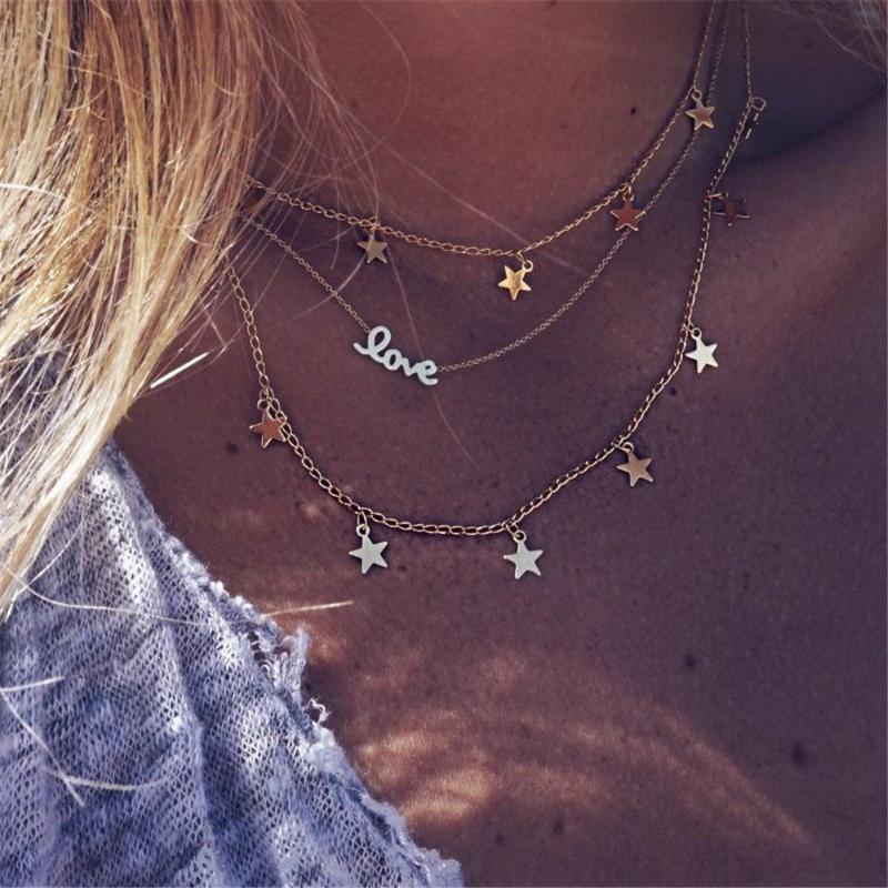 Mode Bijoux cadeau Bohemian Métal Pentagon-Star Lettre Love Star MultiLayer Collier de cou de cou pour femmes avec fête
