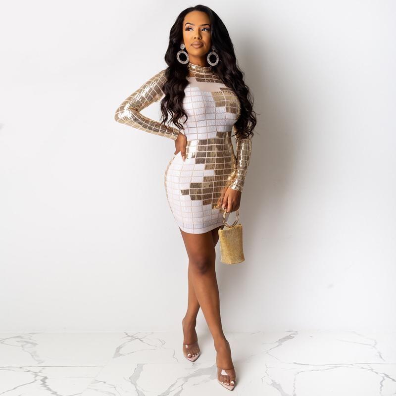 hirigin Sequined Bodycon Party Dresses Sexy Night Club Summer Women 2021 Full Sleeve Tight Mini Dress Sheath Sheer Mesh Black