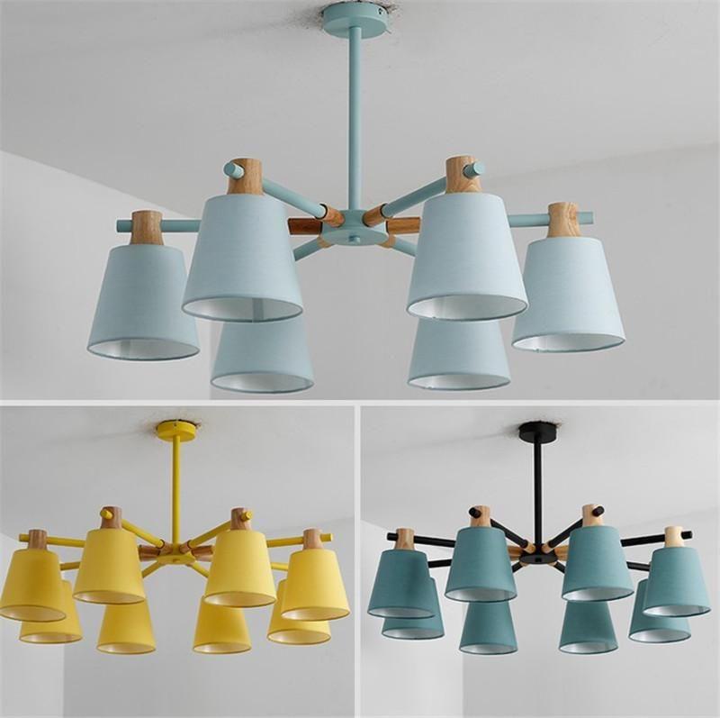 Новые Прибытие Светодиодные Люстры для гостиной Спальня Цвета Абажурный Nordic Стиль Подвесные Огни Para Sala de Jantar Домашняя лампа