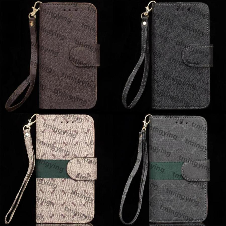 Top Designers Leather Phone Cases For iPhone 13 Pro Max 12 Mini 11 Xs XR X 8 7 Plus Fashion Wristband Lanyard Designer Print Back Cover Luxury Shell Wallet Flip Case