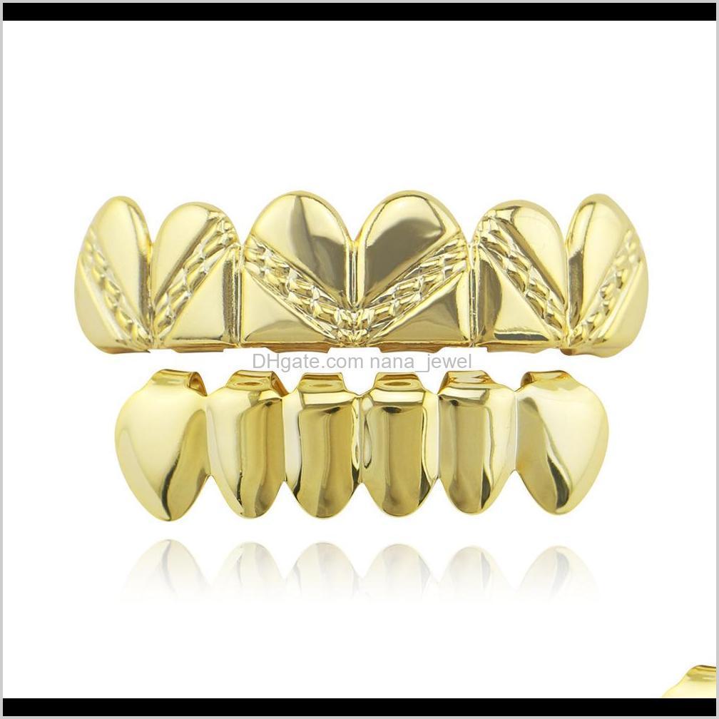 Hiphop Persönlichkeit Fangs Zähne Gold Silber Rose Gold Zähne Grillz Gold Falsche Zähne Sets Vampir Grills Für Frauen Männer Dental Grills HO4 VCYB5