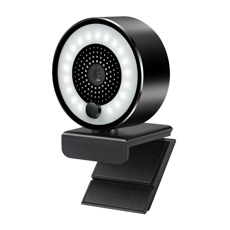 HD 2K USB Webcam Auto-Fokus 5MP PC-Webkamera 1080P mit Ring-Fülllichtmikrofon für PC-Laptop-Videokonferenzkamera
