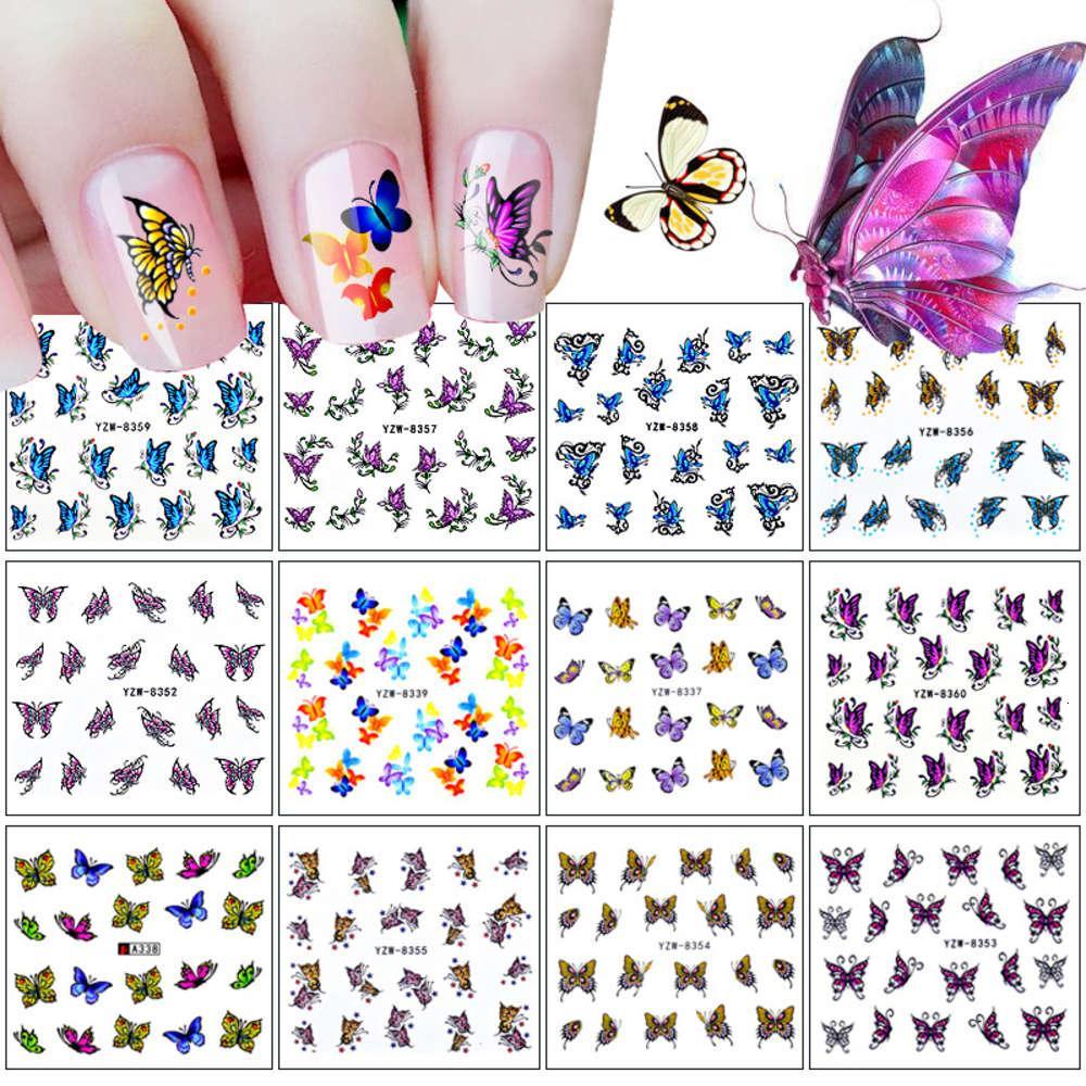 12 unhas adesivos conjunto 3D borboleta série marca d'água adesivos adesivos decalques diy jóias