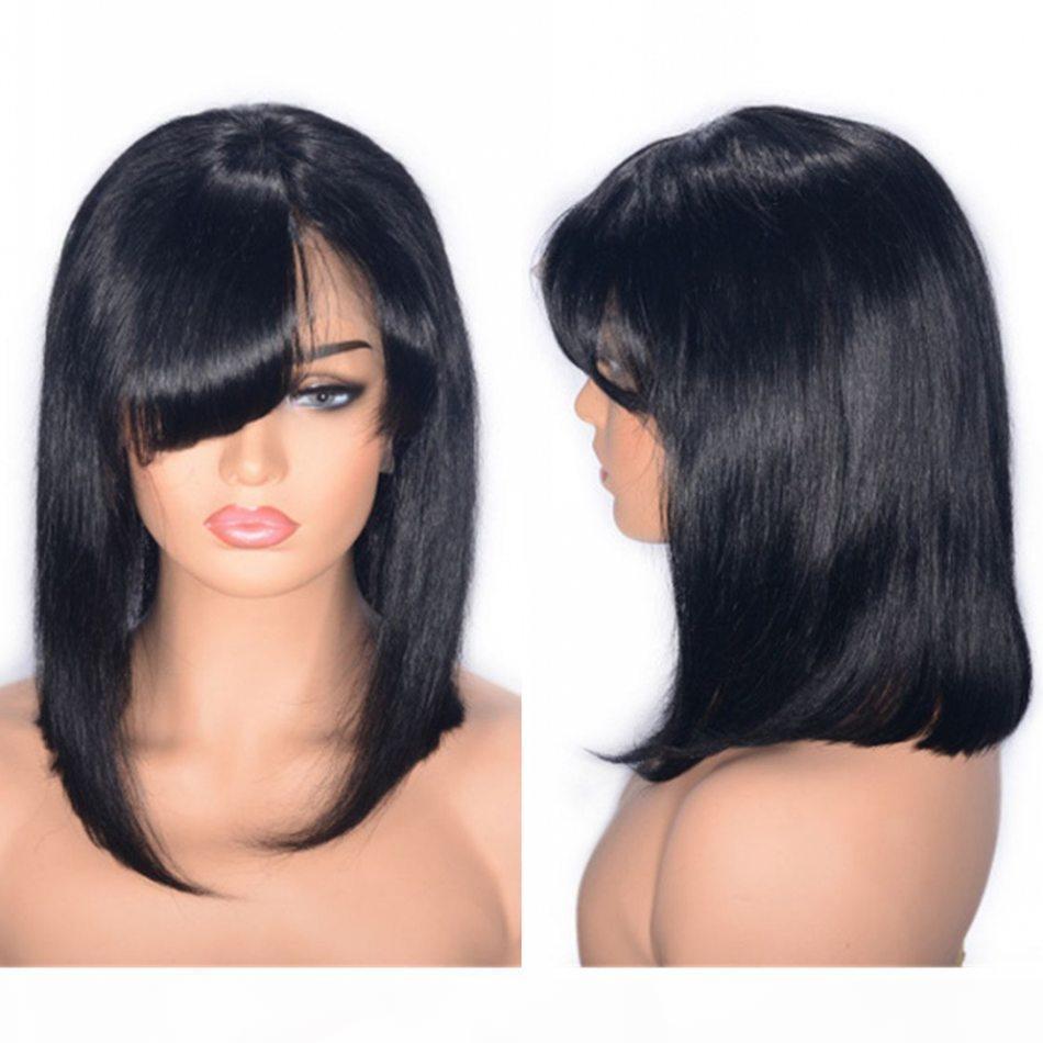 Перуанские полные кружевные парики с челками прямые кружевные фронта Боб Парик натуральный цвет человеческих волос парик 10 дюймов