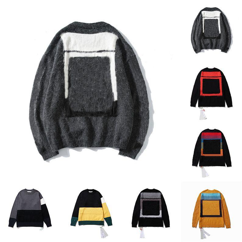 Мужские женские дизайнеры свитера Бренды мужские S одежда люкс белая одежда вязаные низкие шеи мужские свитер теплая зима