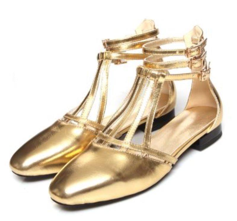 С коробкой натуральной кожи женские круглые ног туфли корова кожа высокие каблуки платье одежды римский стиль металлик цветные квартиры Z614